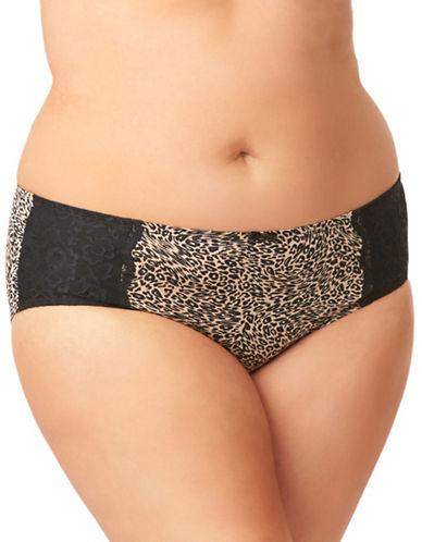Olga Flirty Lace-Trimmed Hipster Panties-BROWN-4X