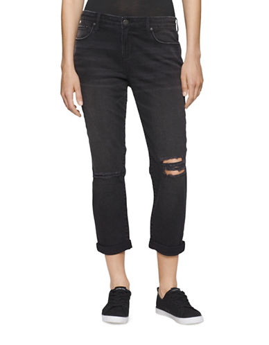 Calvin Klein Jeans Distressed Boyfriend-Fit Crop Jeans-BLACK-28 plus size,  plus size fashion plus size appare