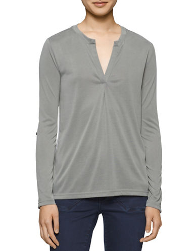 Calvin Klein Jeans Sueded Combo Split-Neck Top-GREEN-Small plus size,  plus size fashion plus size appare