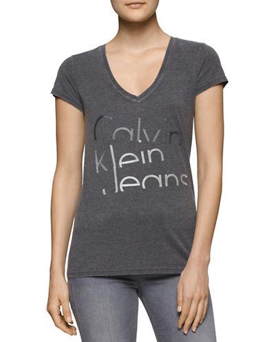 Calvin Klein Jeans Distressed Logo T-Shirt-GREY-X-Small 88592067_GREY_X-Small