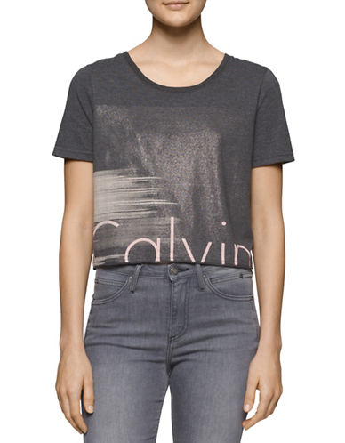 Calvin Klein Jeans Metallic Cropped Logo T-Shirt-GREY-Large 88592075_GREY_Large
