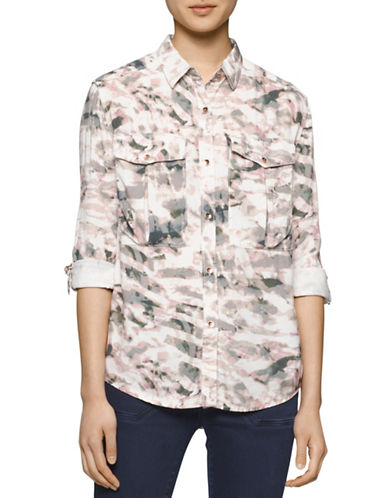 Calvin Klein Jeans Printed Roll-Sleeve Utility Shirt-MULTI-Small 88592095_MULTI_Small