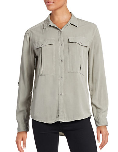 Calvin Klein Jeans Roll-Sleeve Utility Shirt-GREEN-Medium