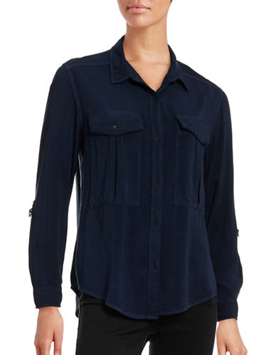 Calvin Klein Jeans Roll-Sleeve Utility Shirt-NAVY-Medium