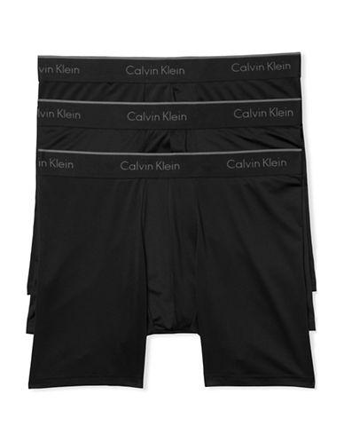 Calvin Klein Microfibre Stretch Three-Pack Boxer Briefs-BLACK-X-Large