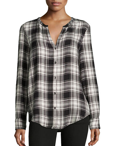Calvin Klein Jeans Herringbone Plaid Roll-Sleeve Shirt-BLACK-Small 88902876_BLACK_Small