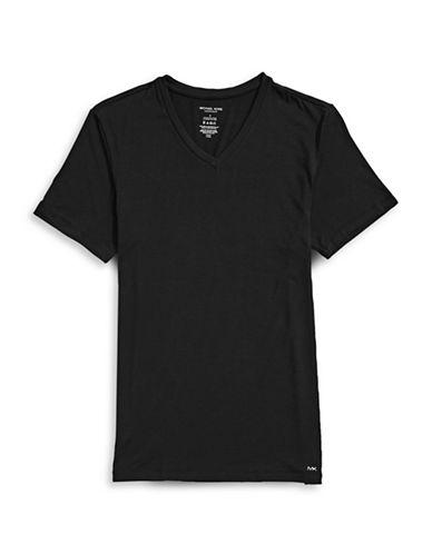 Michael Kors Luxury Modal V-Neck T-Shirt-BLACK-Small