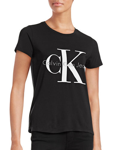 Calvin Klein Jeans Stretch Logo T-Shirt-BLACK-X-Small