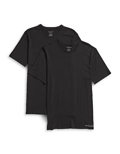 Michael Kors Two-Pack Crew Neck T-Shirts-BLACK-Medium