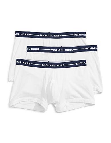 Michael Kors Three-Pack Cotton Stretch Trunks-WHITE-X-Large
