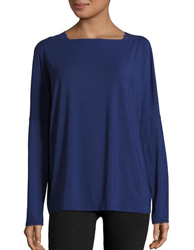 Calvin Klein Lace-Trimmed Dolman Sleeve Top-BLUE-Small 88793759_BLUE_Small