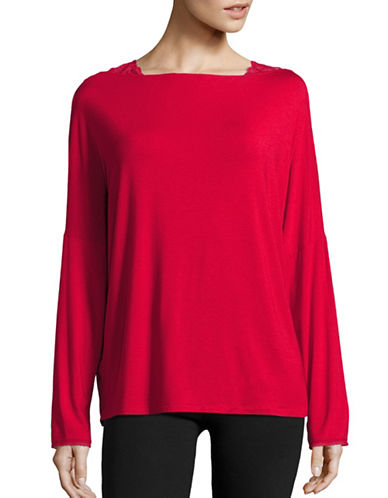Calvin Klein Lace-Trimmed Dolman Sleeve Top-PINK-Small 88793762_PINK_Small