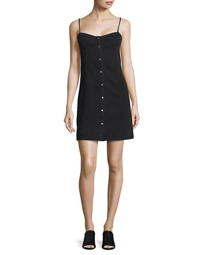 Calvin Klein Jeans Denim Bustier Sheath Dress-BLACK-Small