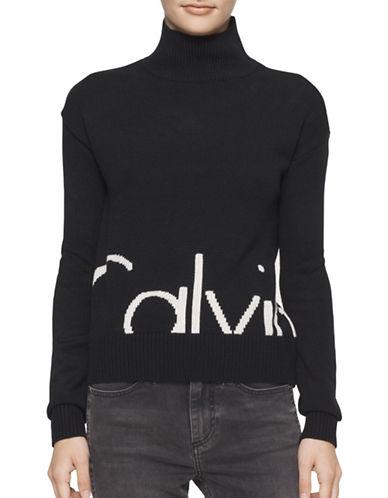 Calvin Klein Jeans Mock Neck Logo Sweater-BLACK-Large 88846725_BLACK_Large