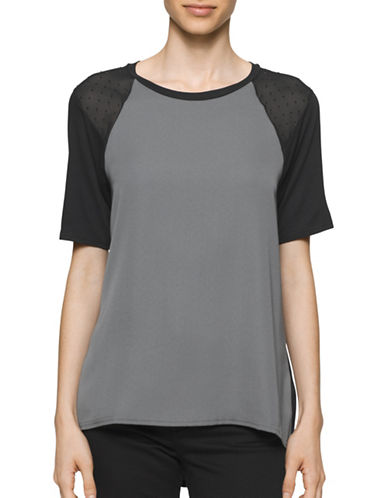 Calvin Klein Jeans Studded Mixed Media Top-GREY-X-Small 88846682_GREY_X-Small