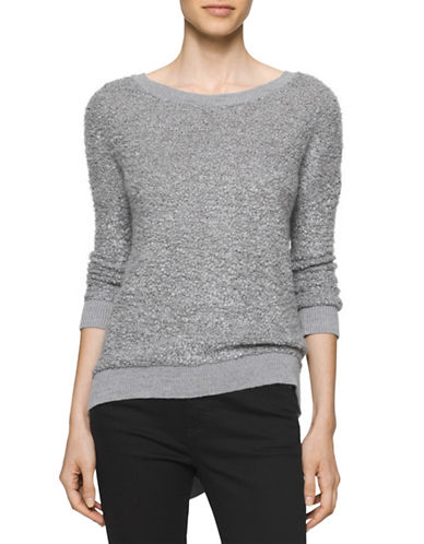 Calvin Klein Jeans Fuzzy Boat Neck Sweater-GREY-Large 88846695_GREY_Large