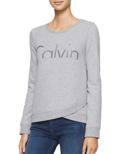 Calvin Klein Jeans Heathered Cropped Sweatshirt-GREY-Small 88846708_GREY_Small