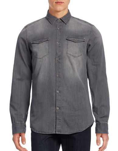Calvin Klein Jeans Basic Denim Shirt-GREY-Medium