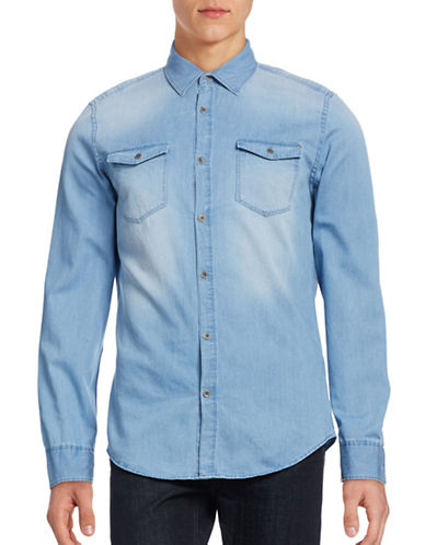 Calvin Klein Jeans Basic Denim Shirt-INDIGO-Large