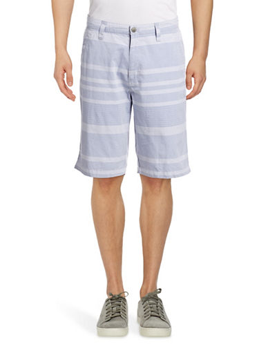 Calvin Klein Jeans Striped Cotton Shorts-BLUE-36