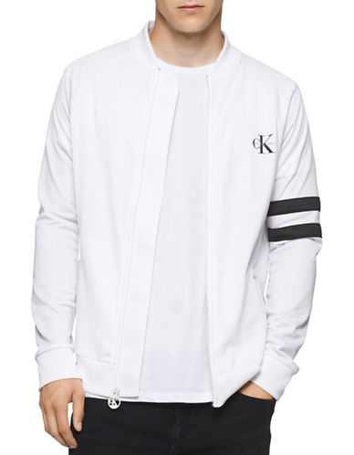 Calvin Klein Jeans Zip-Up Track Jacket-WHITE-X-Large 88776328_WHITE_X-Large