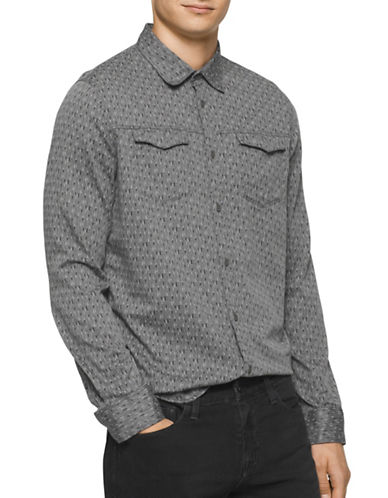 Calvin Klein Jeans Geo Print Herringbone Long Sleeve Shirt-GREY-Large