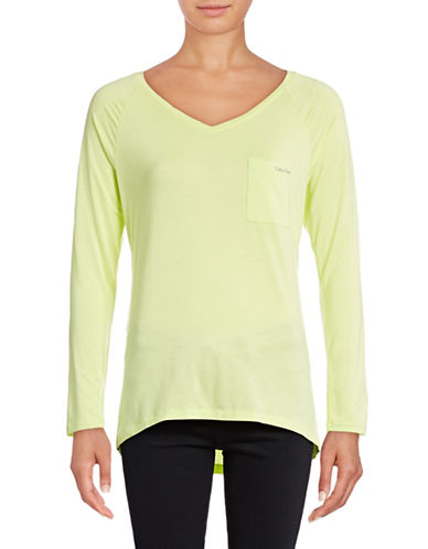 Calvin Klein Long Sleeve Pocket T-Shirt-YELLOW-Medium 88819155_YELLOW_Medium