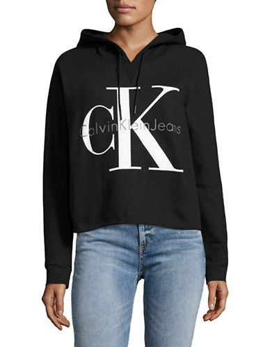 Calvin Klein Jeans Cropped Logo Hoodie-BLACK-X-Small 88946752_BLACK_X-Small