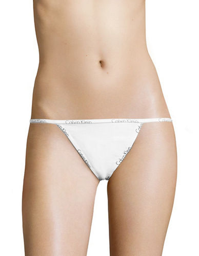 Calvin Klein ID Logo Cotton Thong-WHITE-X-Large