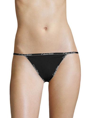 Calvin Klein ID Logo String Bikini Briefs-BLACK-X-Large