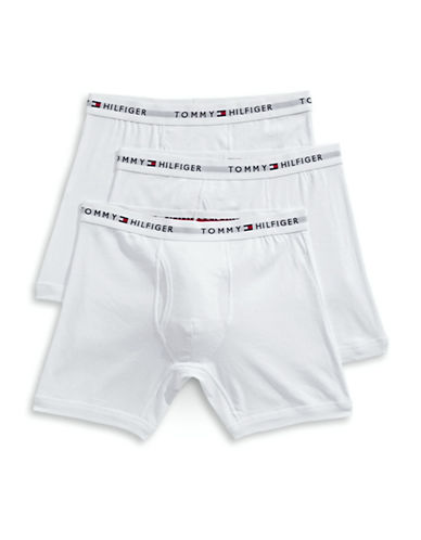Tommy Hilfiger Three-Pack Cotton Boxer Briefs-WHITE-Large