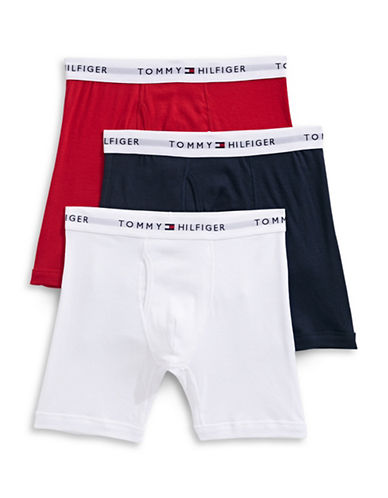 Tommy Hilfiger Three-Pack Cotton Boxer Briefs-MAHOGANY-Large