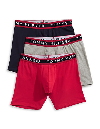 Tommy Hilfiger Three-Pack Cotton Stretch Boxer Briefs-RED-Small