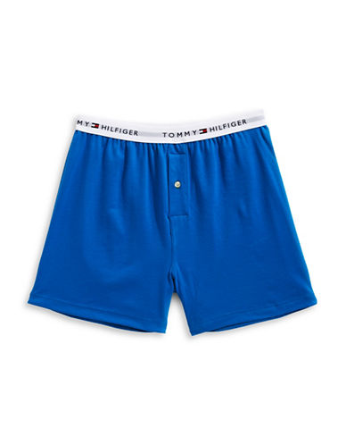 Tommy Hilfiger Athletic Knit Boxer Shorts-BLUE-Large