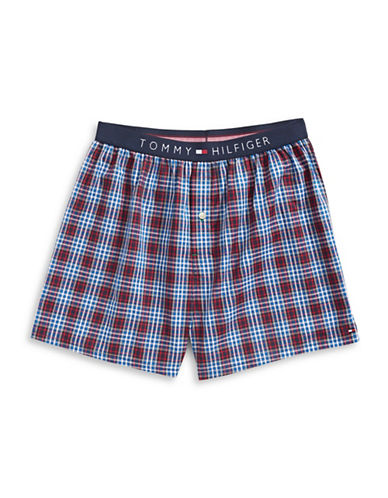 Tommy Hilfiger Checked Woven Boxer Shorts-BLUE-Small
