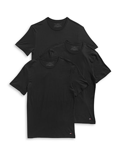 Tommy Hilfiger Three-Pack Classic Crew Neck Tees-BLACK-Large