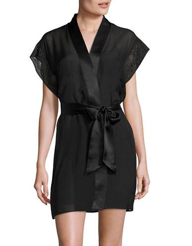 Calvin Klein Endless Lace Robe-BLACK-Medium/Large