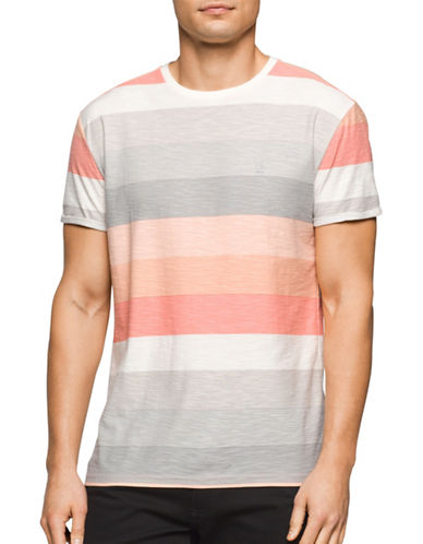 Calvin Klein Jeans Striped Colourblock Tee-PINK-Large 89124941_PINK_Large