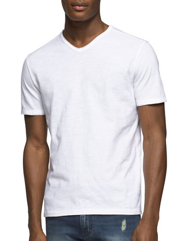 Calvin Klein Jeans Mixed Media V-Neck Tee-WHITE-Medium 89124948_WHITE_Medium