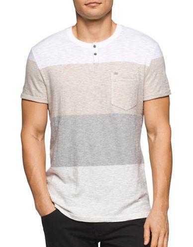 Calvin Klein Jeans Slim Fit Colourblock Henley Shirt-GREY-Large