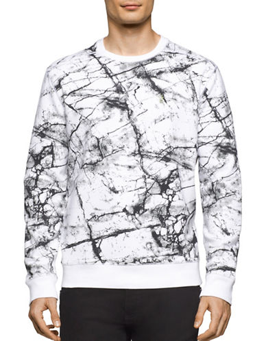 Calvin Klein Jeans Marble Print Pullover-WHITE-Large 88988889_WHITE_Large