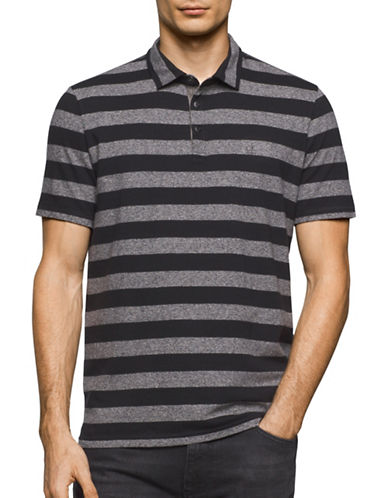 Calvin Klein Jeans Classic Fit Stripe Polo Shirt-GREY-Small