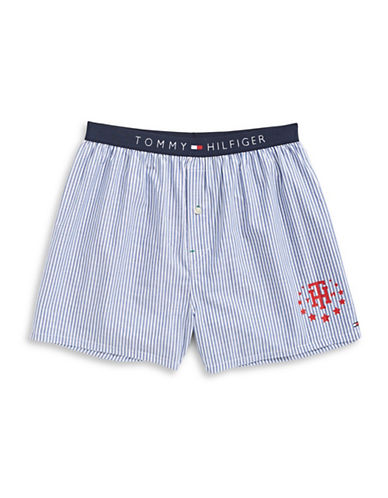 Tommy Hilfiger Striped Woven Boxer Shorts-NAVY STRIPE-Medium