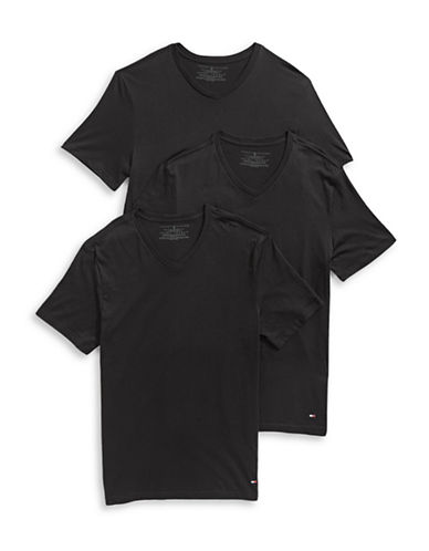 Tommy Hilfiger Three-Pack Classic V-Neck Tees-BLACK-X-Large