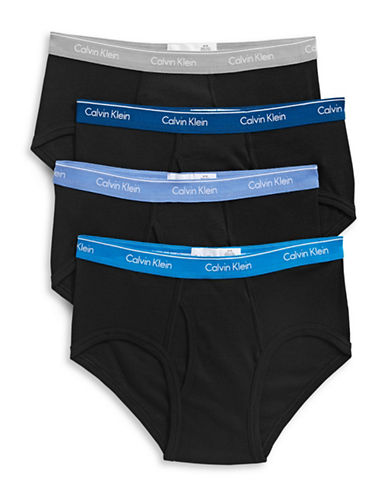 Calvin Klein Four-Pack Classic Fit Cotton Briefs-BLACK/ASSORTED-Small