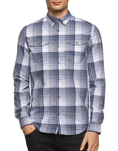 Calvin Klein Jeans Gradient Plaid Sport Shirt-WHITE-X-Large