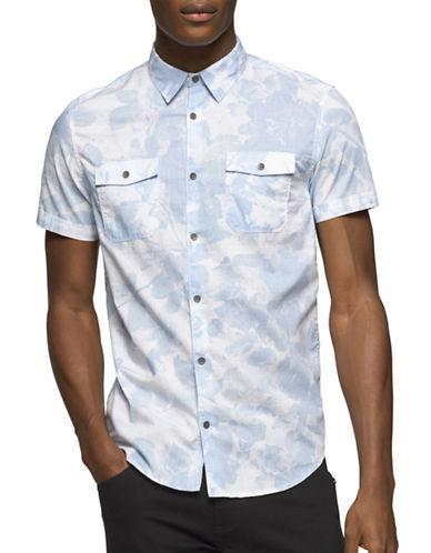 Calvin Klein Jeans Slim Fit Floral Sport Shirt-LIGHT BLUE-Large