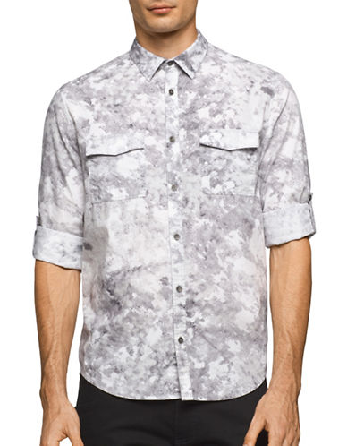 Calvin Klein Jeans Watermark Print Dual-Pocket Shirt-GREY-X-Large
