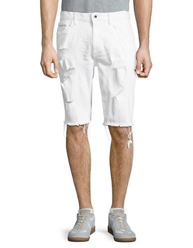 Calvin Klein Jeans Distressed Denim Bermuda Shorts-WHITE-36