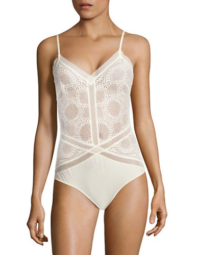 Calvin Klein Endless Sheer Lace Bodysuit-IVORY-Large